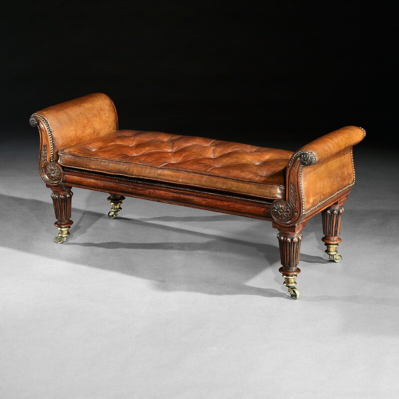 Fine Regency Rosewood Leather Upholstered Window Seat.